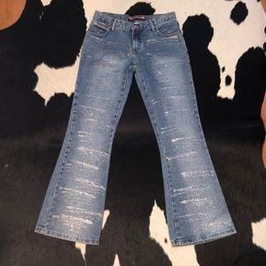 Vintage 90's glittery flared denim jeans 26-28 w